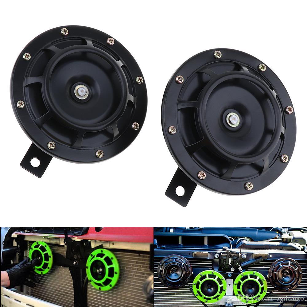 2 stücke 12 V Schwarz / Grün Super Lauter Grill Mount Trompete Kompakte Elektrische Blast Dual Tone Horn für Auto / Motorrad HOR_102