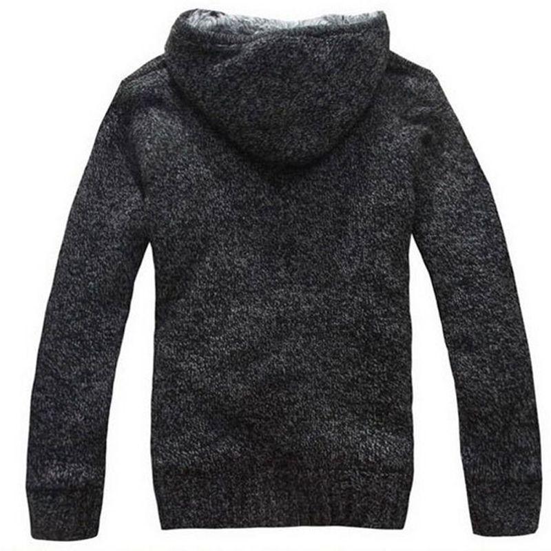 JOSALEM Männer Pelz Innen Warme Pullover 2017 Neue Solide Herbst Winter Männer Dicke Mit Kapuze Strickjacke Kleidung Blusas Masculinas