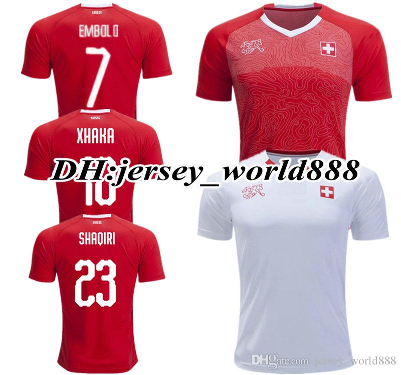 2019 TOP QUALITY 2018 World Cup Switzerland Red Home Soccer Jersey National  Team XHAKA SHAQIRI EMBOLO 18 19 RODRIGUEZ Away Football Shirts From ... f2c7fc7d6