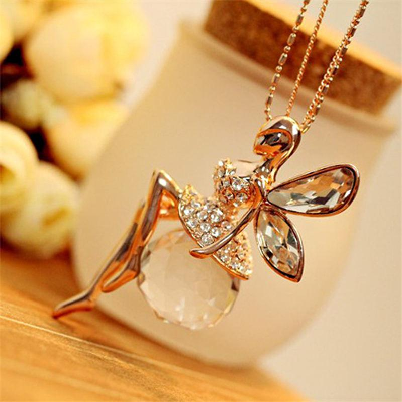 LNRRABC Women Crystal Shiny Fairy Rhinestones Angel Wings Long Chain Party Pendant Necklace Sweater Chain Fashion Jewelry
