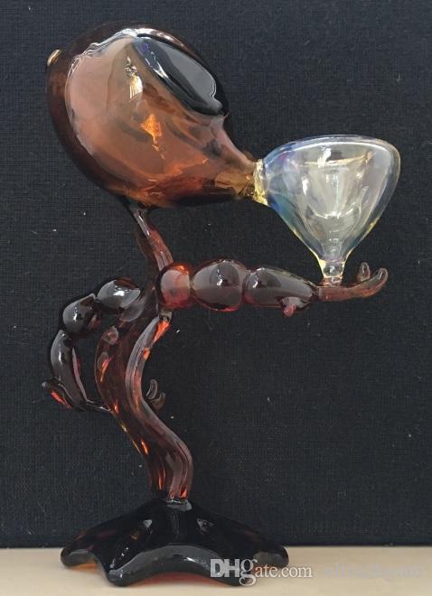 10 teile / los Alien Glasrohr Glas Wasserleitungen 7 zoll Höhe glas Rauchen Rohre Alien Bong Wasser