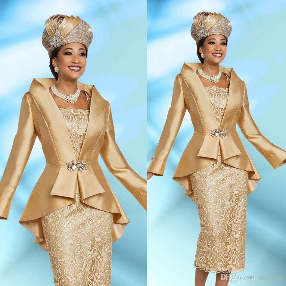 53844fb7feb Gold Mother Of The Bride Dresses With Jacket Lace Appliques Two Pieces Knee  Length Long Sleeve Wedding Guest Dress For Mother Plus Size Mother Of The  Bride ...
