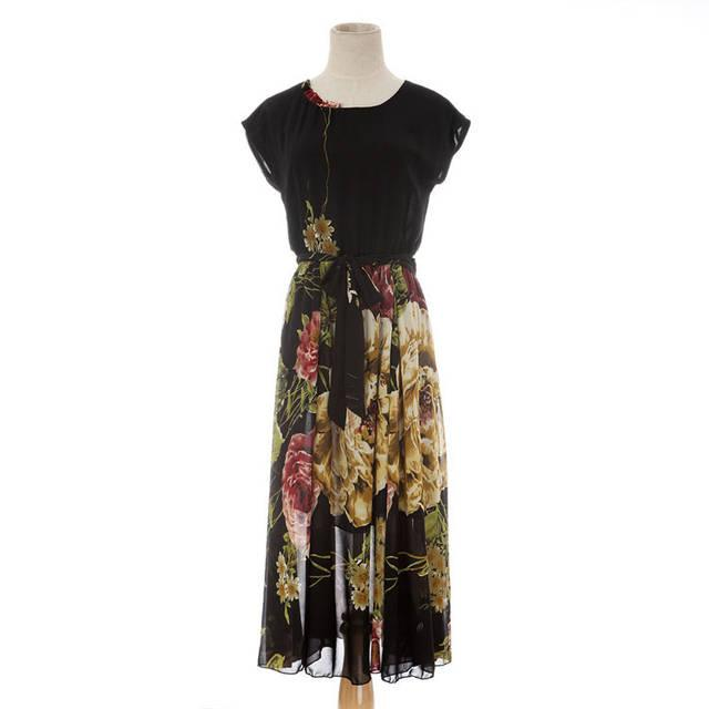 Women S Summer Dresses Bohemian Floral Clothes Hawaiian Chiffon Elegant plus size girls flower Short Sleeve Mid-Calf Beach Wear