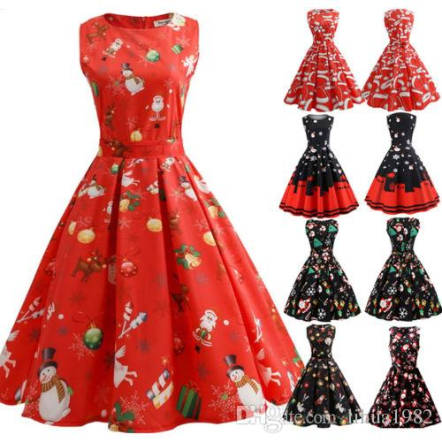 72ea7709d3d3 2019 Plus Size Womens Vintage Xmas Christmas Santa Skater Swing Ladies  Party Dress From Lihua1982, $7.03 | DHgate.Com