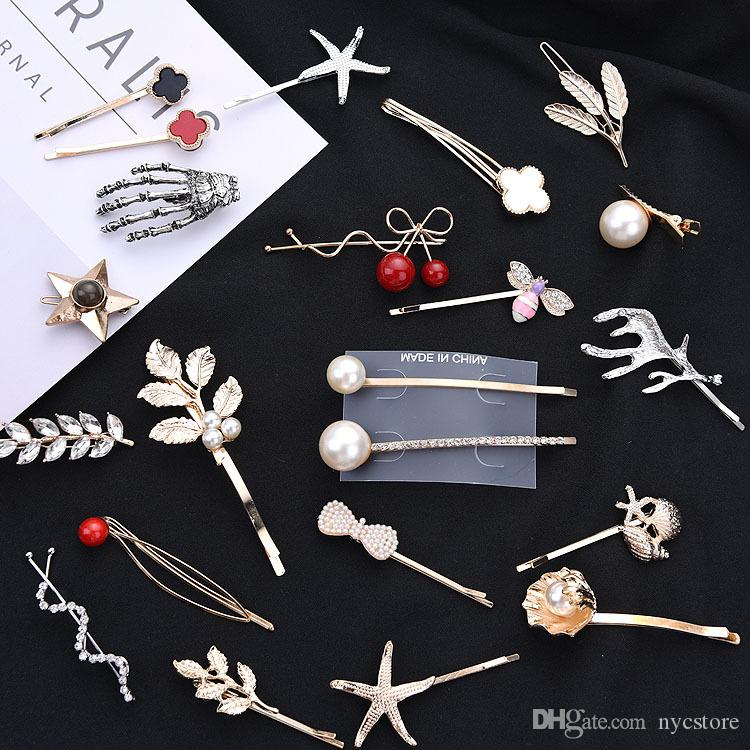 Mix Different Styles Gold Silver Feather Shape Female Hairpins Women's Pearls Barrettes Girls Hairclip Fashion Hair Accessories Clips