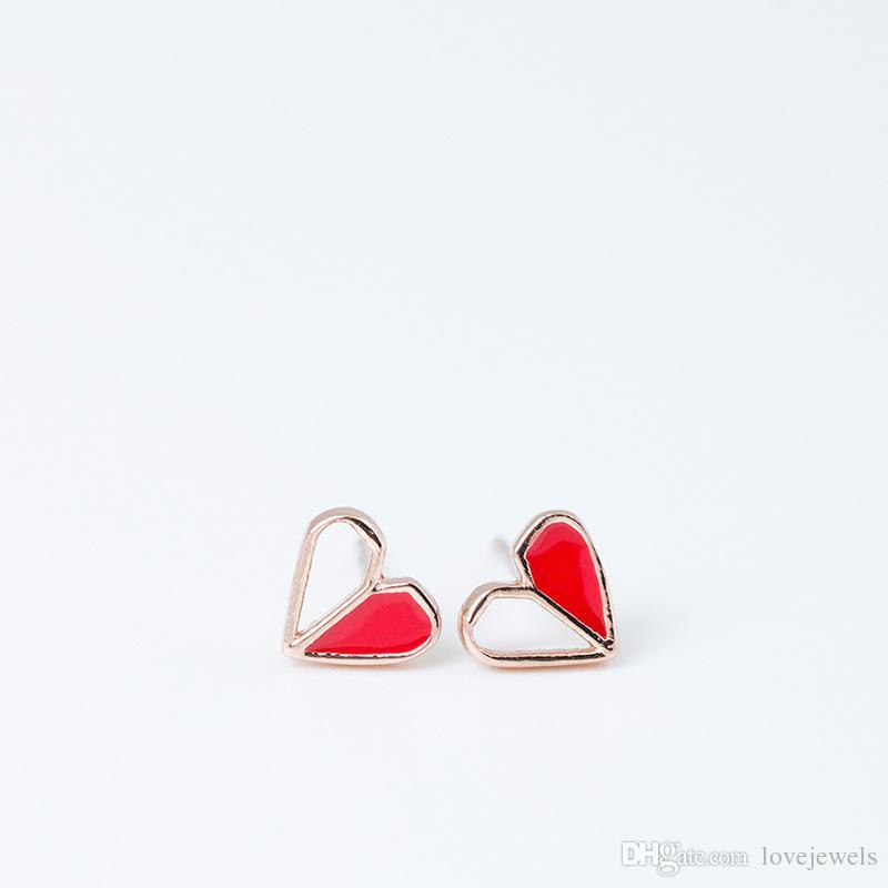 cda5b8081 2019 14K Gold Designer Earrings Jewelry Fashion 925 Sterling Silver Earring  Female Simple Hollow Enamel Love Heart Red China Direct Stud Bijoux From ...