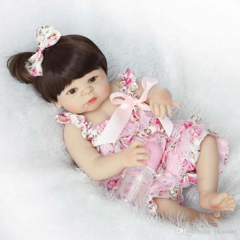 23''/57cm bebe alive bonecas handmade Lifelike Reborn Baby Doll Girls Full Body Vinyl Silicone with Pacifier child gift Toys