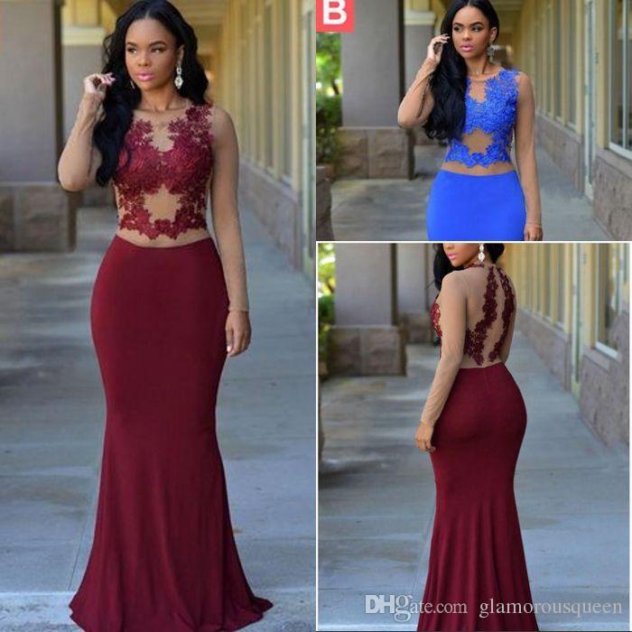 43ad3803f3c Top Selling Mermaid Jewel Floor Length Chiffon Prom Dresses Long ...