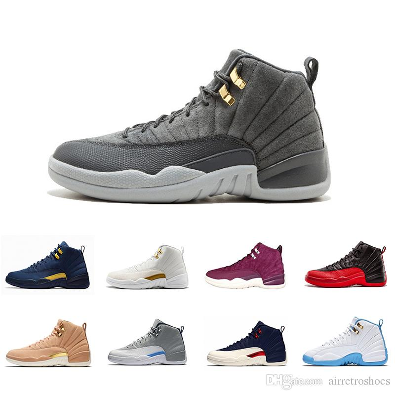 f0778d5c12ebe6 New Michigan 12 12s Mens Basketball Shoes Dark Grey Bordeaux White Gym Red  Taxi Gamma Blue Flu Game Men Women Sports Sneakers Shoes Basketball Mens  Shoes ...
