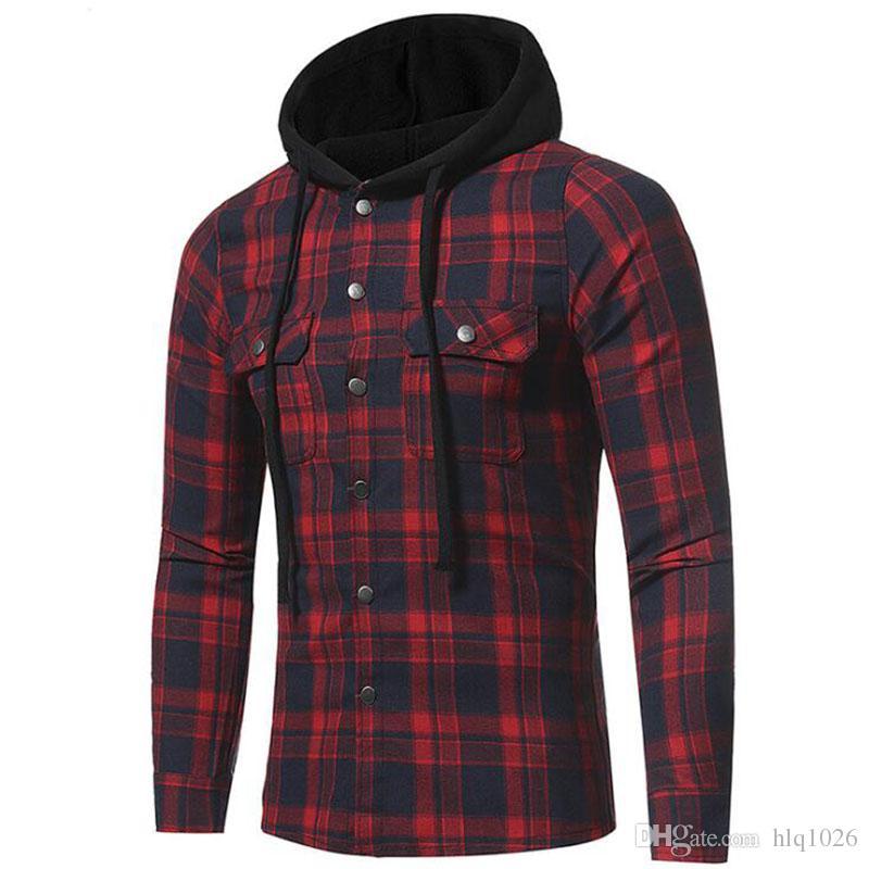 d1a499e1880 Fashion Men Plaid Shirts Korean Wild Long Sleeve Flannel Hooded Shirt  Casual Slim Fit Plus Size Cotton Men Clothes Tee Shirts Mens T Shirts From  Hlq1026