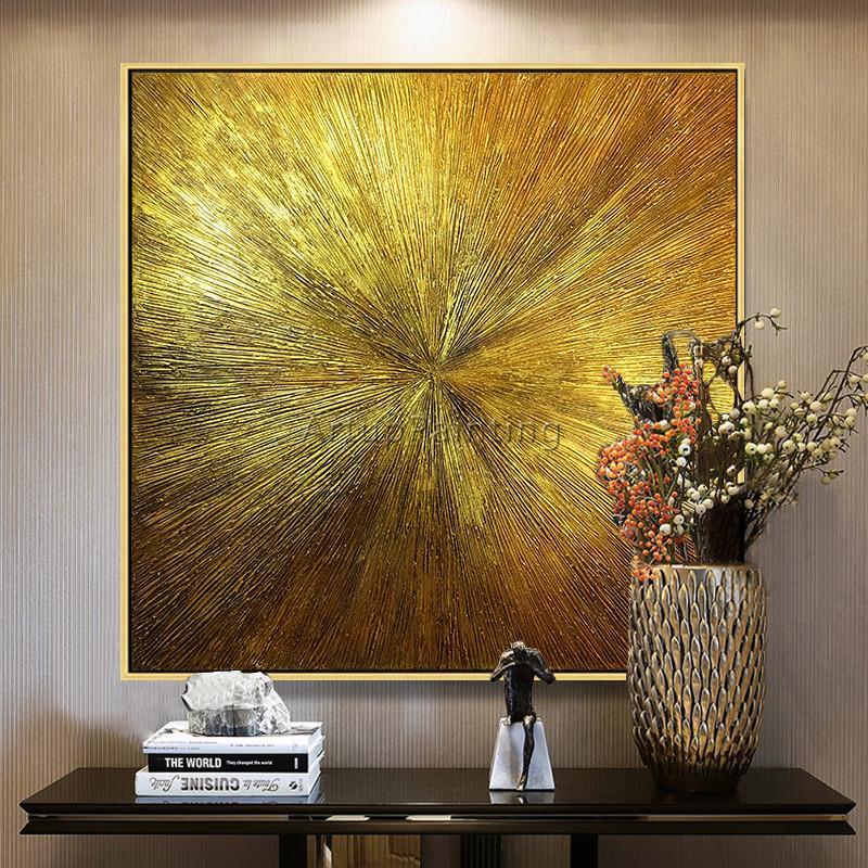 Großhandel Segeltuchgoldkunstmalerei Cuadros Abstractos Modernos