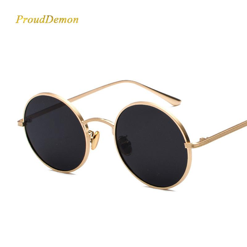 f06e03b7ea8ba Prouddemon 2018 Stylish Round Sunglasses Women Classic Oval Sun Glasses  Yellow Red Lense Metal Frame Eyewear Oculos UV400 Best Sunglasses For Men  Vuarnet ...