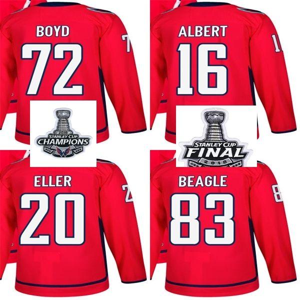 2019 2018 Stanley Cup Champions Final Patch Men Washington Capitals 72  Travis Boyd 16 John Albert Lars Eller Jay Beagle Red Custom Hockey Jerseys  From ... 0332567aa