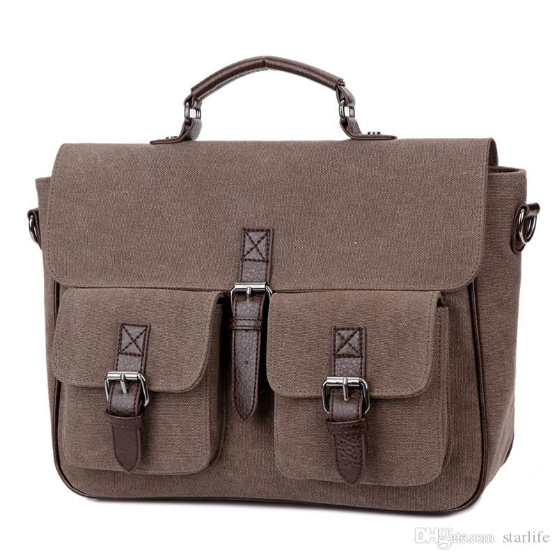 Canvas Shoulder Bag Office Man Briefcase Handsome Business Men Bag Documents Canvas Shoulder Bag Back pack Rucksack