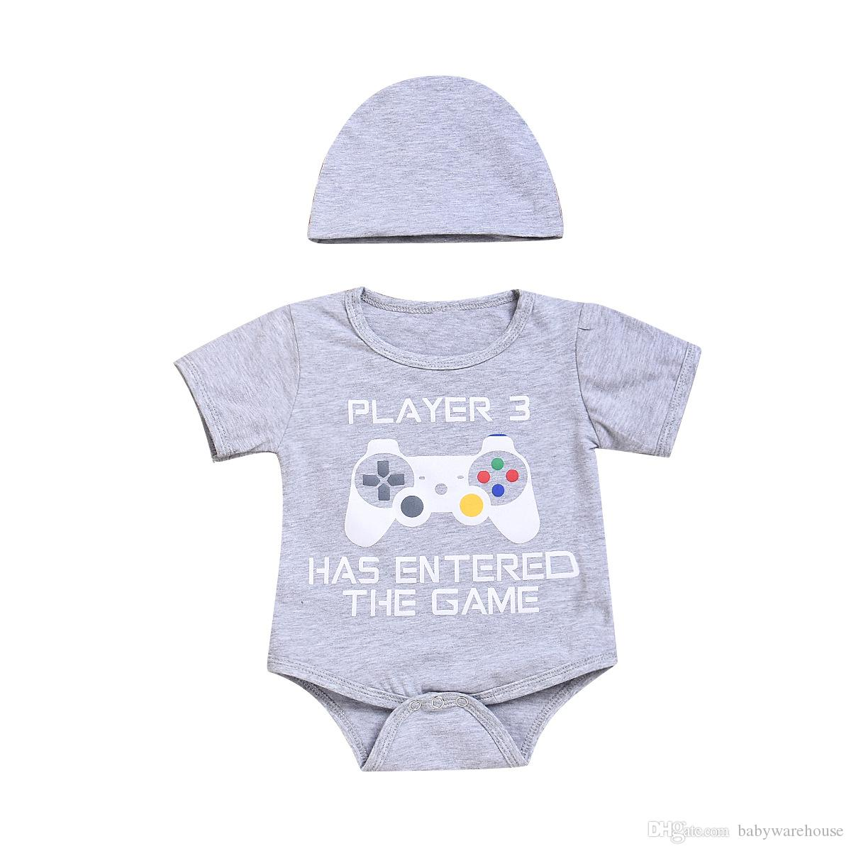 9c0f023f309 2019 Newborn Baby Boy Clothes Cotton Infant Toddler Boys Girls Unisex  Romper With Hat Outfits Children Kids Boutique Clothing Baby Onesies From  ...