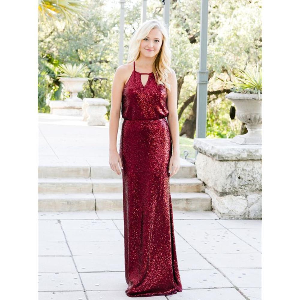 38fa0203 2018 New Burgundy Sequins Bridesmaid Dress Spaghetti Strap Floor Length  Elegant Long Wedding Party Gowns Cheap Women Dresses Designer Bridesmaid  Dresses ...