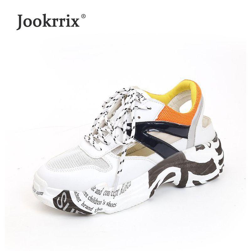 676e978b4 Compre 2019 Jookrrix 2018 Nova Marca De Sapatos Brancos Sapatos De  Plataforma Ocasional Senhora Footwear Verão Respirável Feminino Chaussure  Todos Os Match ...