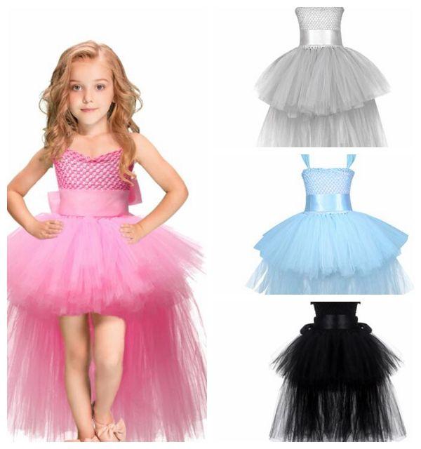 2b444ba22a71 Trailing Flower Girls Dresses for Wedding Kids Pageant Dress Knit