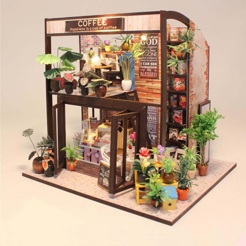 Wholesale Hoomeda M027 Coffee House Diy Dollhouse With Music Motor