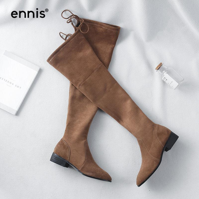 Großhandel ENNIS 2018 Damen Kniehohe Stiefel Flache Ferse Overknee Stretch  Stiefel Schwarz Braun Damen Reißverschluss Wildleder Schnürschuhe L828 Von  ... 2e9541742b