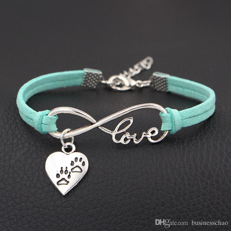 AFSHOR 2018 New Arrival Double Dog Paw Prints Charms Bracelet Antique Silver Infinity Love Leather Bracelets For Women