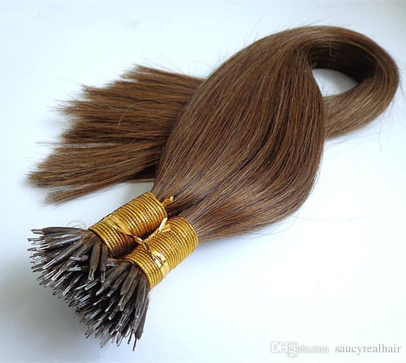 Elibess Marke Nano Ring Haarverlängerungen brasilianisches reines Haar, 100% Echthaar weben unverarbeitetes Echthaar, 1g st 150s ein Los, DHL frei