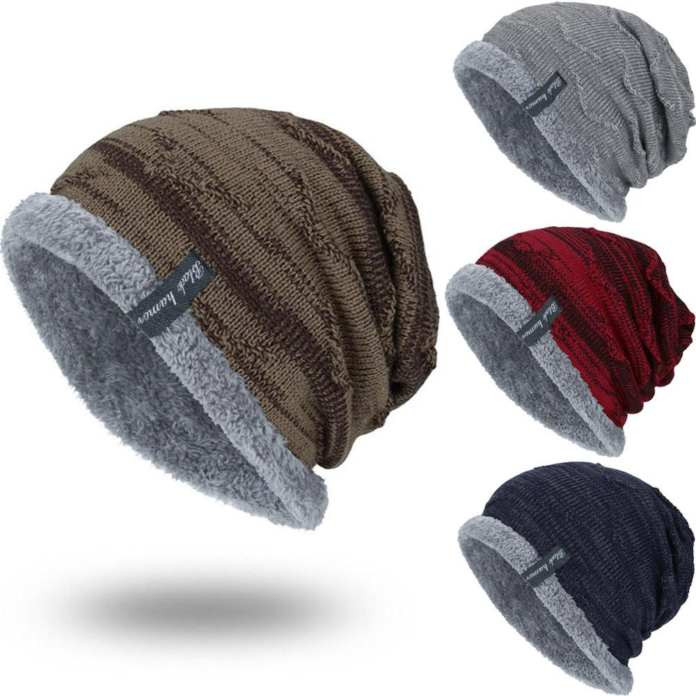 0c3da0e63725d7 Men's Winter Hat 2018 Fashion Knitted Black Hats Fall Hat Thick And ...