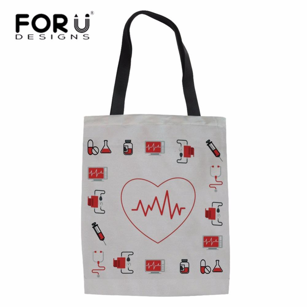 FORUDESIGNS Cute Nurse Heart Printing Shopping Bag Women Linen Tote Bag For Female  Shop Recycle Girls Large School Book Bags Non Woven Bags Wine Bags From ... bd2560130897a