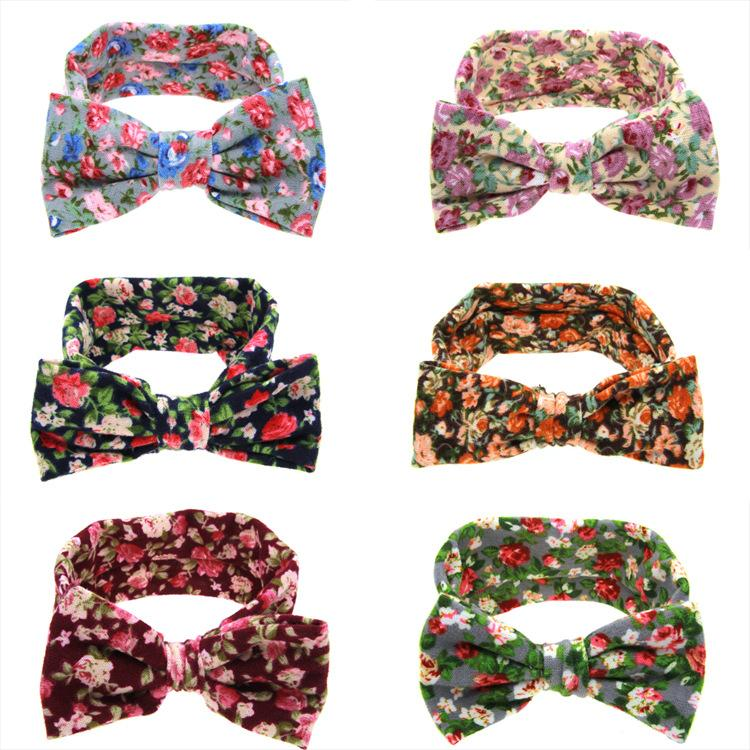 2018 New Headbands Bow hairs Floral Vintge Hair Head Band Baby girl sweet Elastic knit cotton baby Flower hair accessories 252