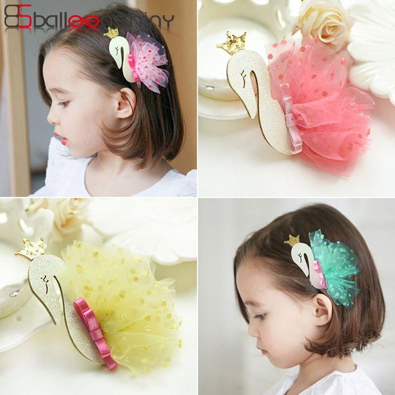e688575ce0ab9 BalleenShiny Baby Girls Swan Gauze Crown Cute Sweet Hair Clips Children  Kids Hairpin Fashion New Style Gift Headband Accessories Ribbon Hair  Accessories ...
