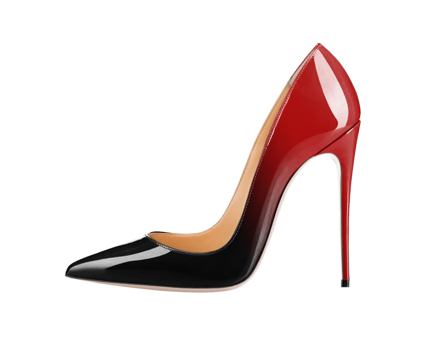 5b6deee03cf Sexy gradient color shallow mouth high heels shoes red bottom lady pointed  toe leather 12cm stiletto heel pumps big size 34-46