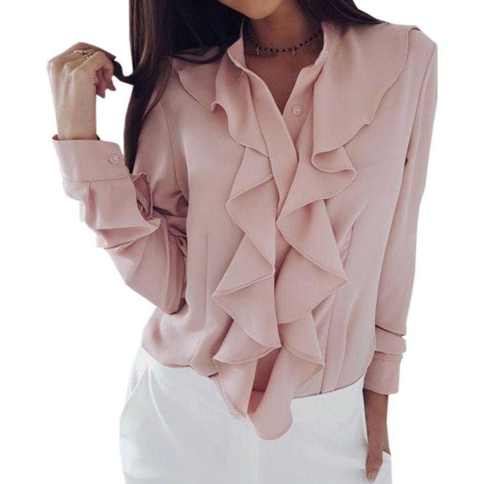 08c7fc05a9 Compre 2018 Camisa Blusas Sólidas Moda Coreana Estilo Otoño Trabajo De  Oficina Ropa De Trabajo Elegante Volantes Manga Larga Mujeres Blusa Blanca  Tops GV115 ...
