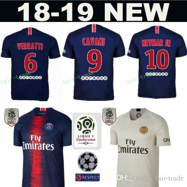2018 2019 FC Paris Saint Germain PSG Camiseta De Fútbol Maillot De Foot  KIMPEMBE KURZAWA RABIOT IBRAHIMOVIC Camiseta De Fútbol Kit Uniform White  Blue Por ... 8e74f32ee0af2