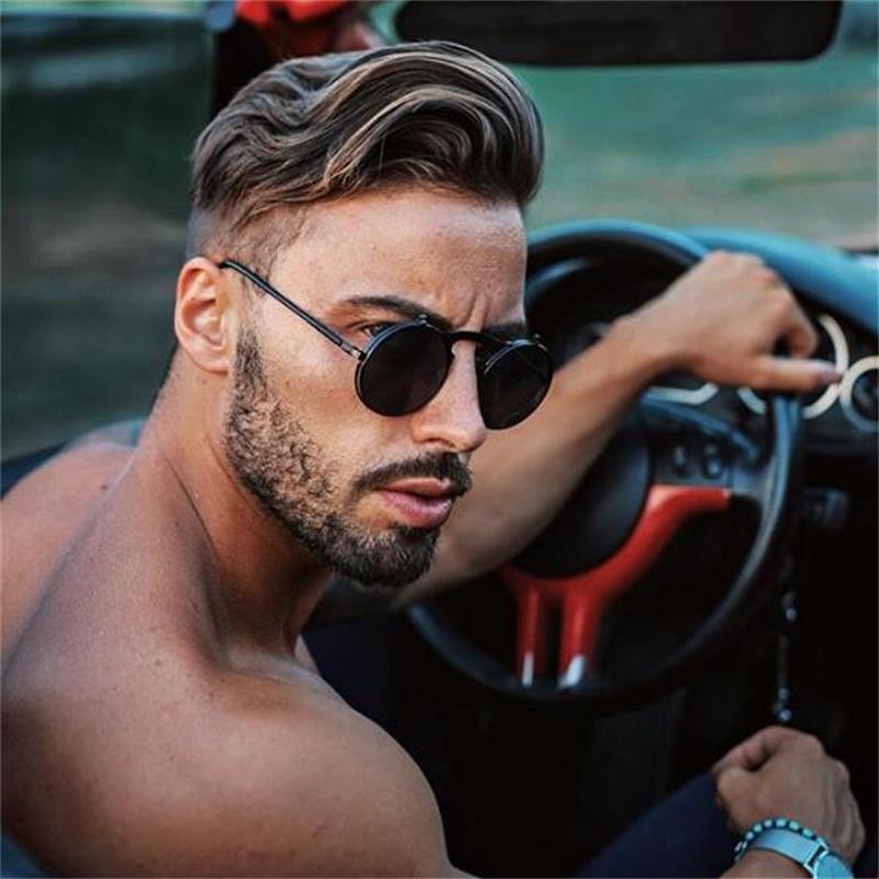 2e58e21bfd Male Steampunk Sunglasses Round Glasses Flip Double Sun Glasses Men Circle  Sunglasses For Driving Mirrored Retro Oculos De Sol Sunglass Cheap  Sunglasses ...