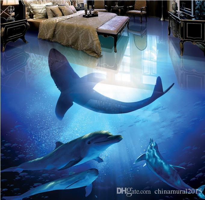piso de vinilo baño Aesthetic Underwater World Dolphin Shark baño estéreo 3D sala de estar piso