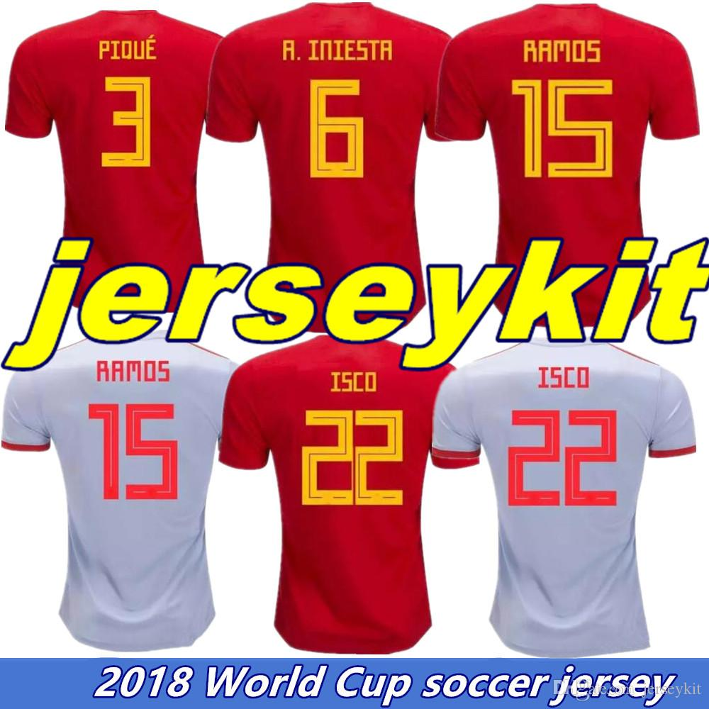 Spain Home Red Soccer Jersey 2018 World Cup Spain INIESTA Away White ... 0d5ec546e