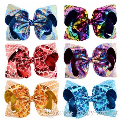 19becb21ddb67 8 Inch Large Mermaid Hair Bows With Clip For Kids Boutique Printed ...