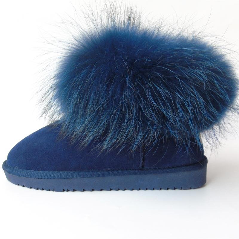 G&Zaco Luxury Natural Dark Blue Fox Fur Snow Boots Cow Suede Genuine Leather Women Boots Flat Real Fur Boots Winter Women Shoes