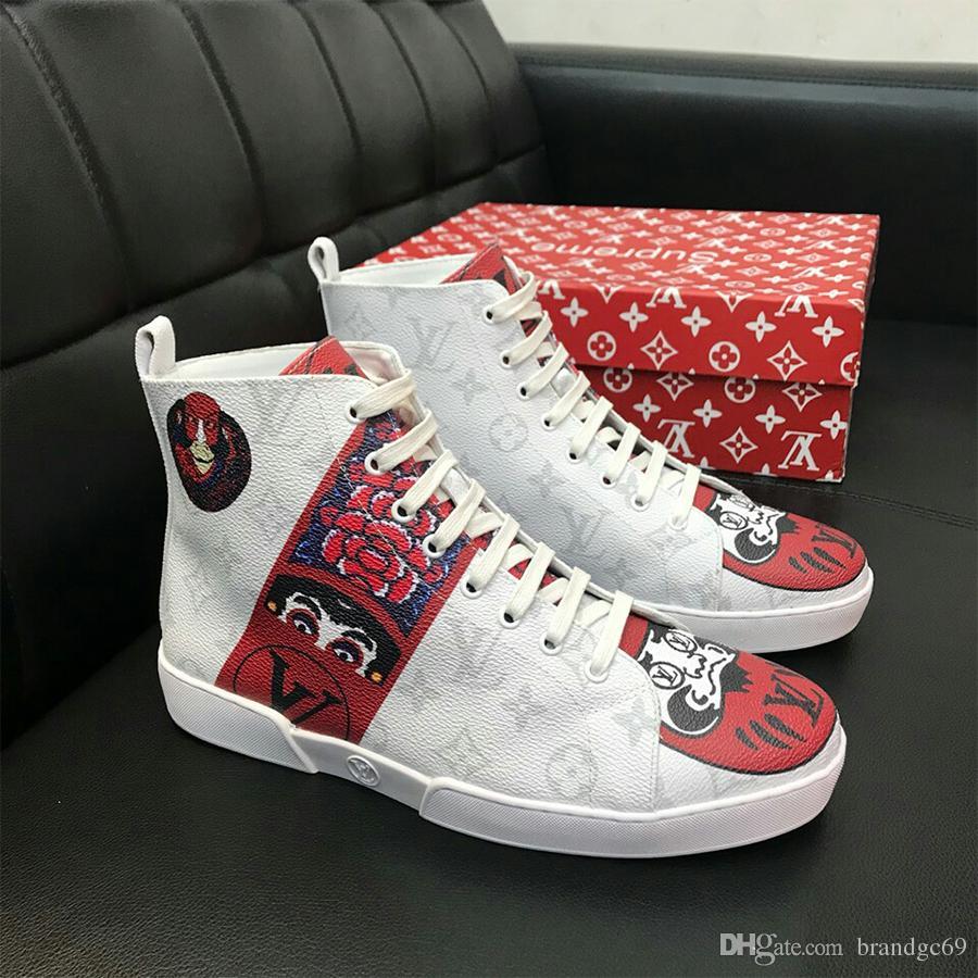 42161ea83e Großhandel Designer Luxusmarke Männer Freizeitschuhe Hohe Qualität Leder  Männer Hohe Schuhe Mode Turnschuhe Atmungs Hip Hop Schuhe Herren Marke PU  Mater Von ...