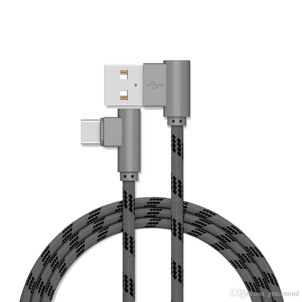 2M Nylon Braided USB 3.1 Type C Male double 90 Degree Right Angled to Fast Charging Data Sync Cables for Samsung Huawei