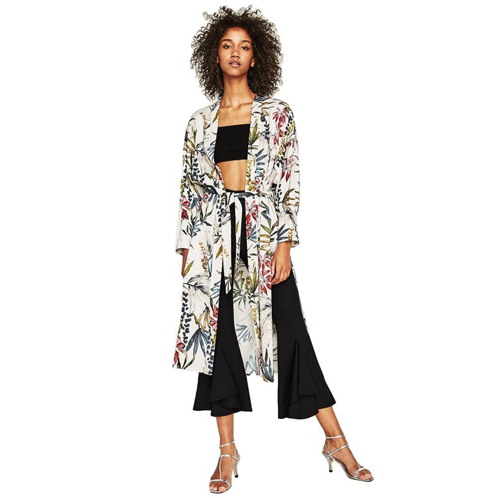 e8326ec4c64 2019 Ethnic Flower Print Sash Kimono Shirt Retro Bandage Cardigan Blouse  Top Long Sleeve Split Boho Beach Cover Up Green Femme Blusa From Modeng07