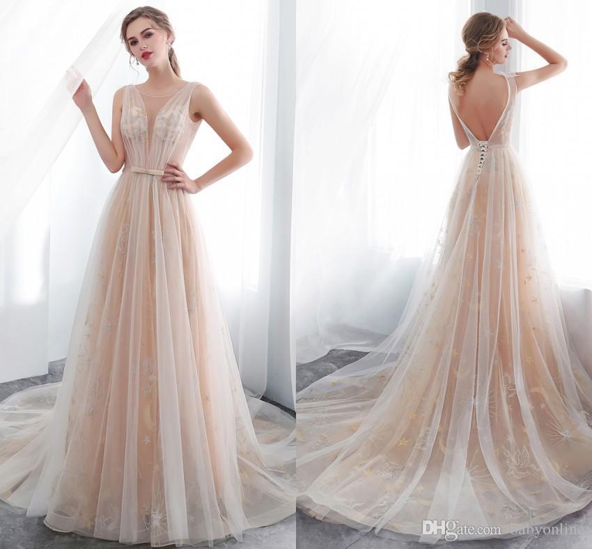 compre 2019 champagne ligero vintage vestidos de novia cuello
