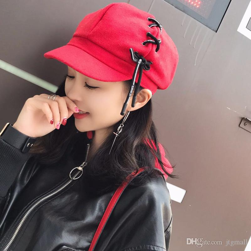 41595b02f Winter Hat Berets Fashion Female Painter Spring And Autumn Caps Hats Women  Personality Shoelace Suede Beret Octagonal Cap