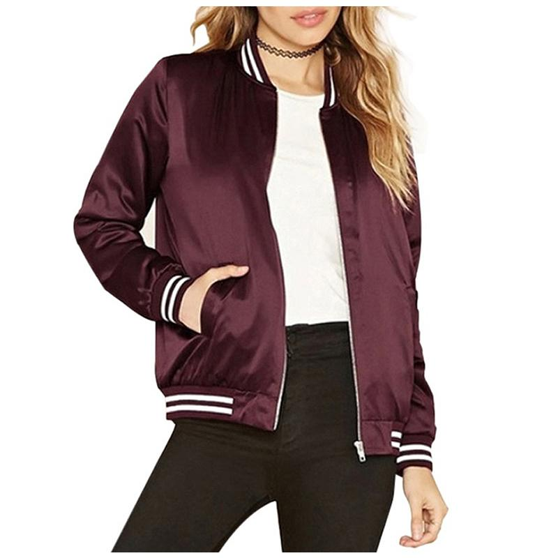 cb0e1ba67 Slim Autumn Winter Bomber Jacket Women Fashion Wine Red Striped Polyester  Female Outwear Coat Jackets