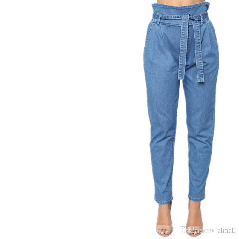 e39a2b3c9e14a7 Acquista Jeans Donna Con Vita Alta Denim R Femminile Lavato Pantaloni Blu  Harem Fidanzato Elastico In Vita Jeans Larghi Femme S XXL A $32.17 Dal  Almall ...