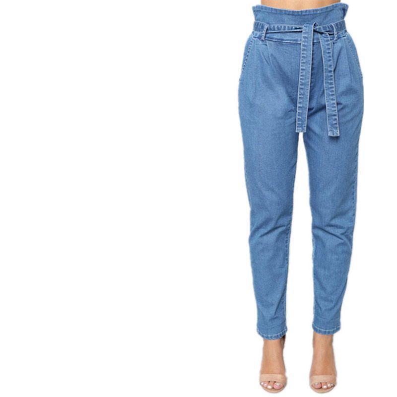 Sueltos Pantalones Elástica Novio Xxl Jeans Con R S Denim Azules Cintura Washed Mujer Harem Femme Alta b7gfyvY6