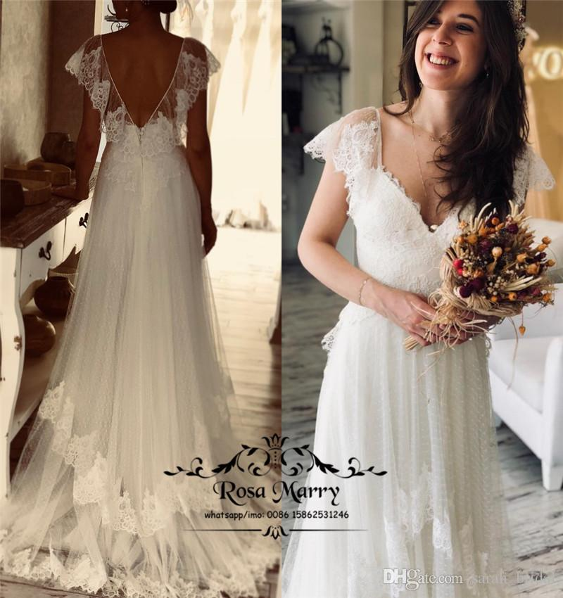 d6c2e61ca Discount Sexy Plus Size Backless Boho Wedding Dresses 2018 A Line V Neck  Vintage Lace Cheap Country Beach Greek Style Bridal Gowns Vestido De Novia  Photos ...