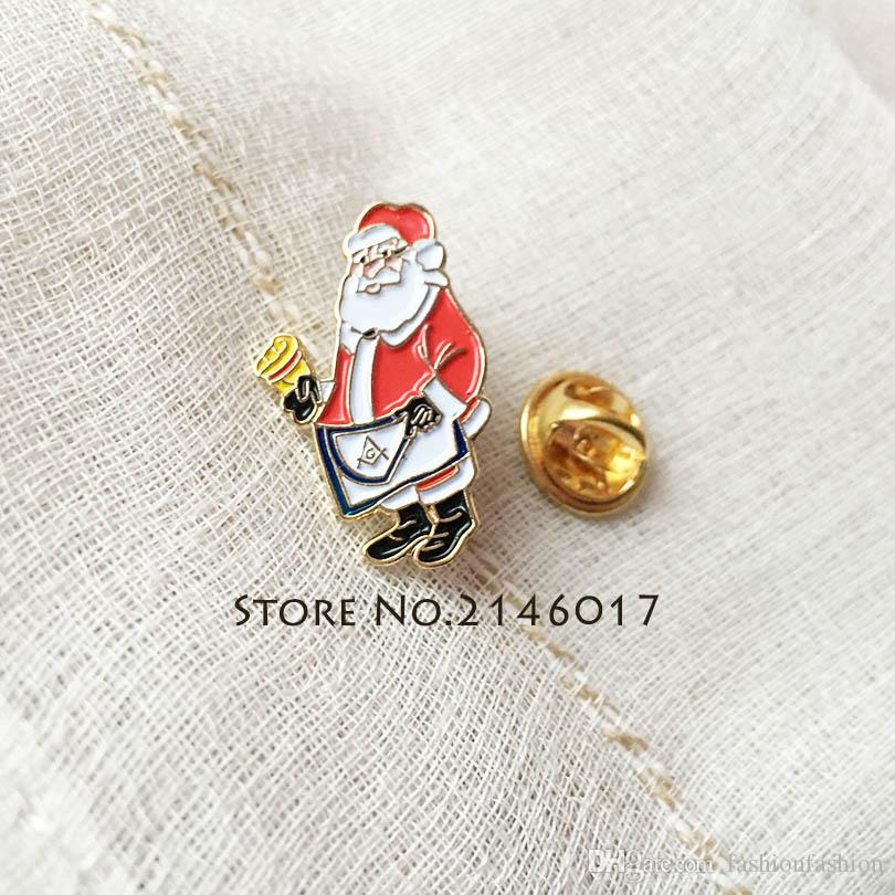 100pcs Custom Enamel Metal Pins Brooch Master Apron Lapel Pin Santa Masonic  Christmas Badge Mason Freemason Cartoon Xmas Men