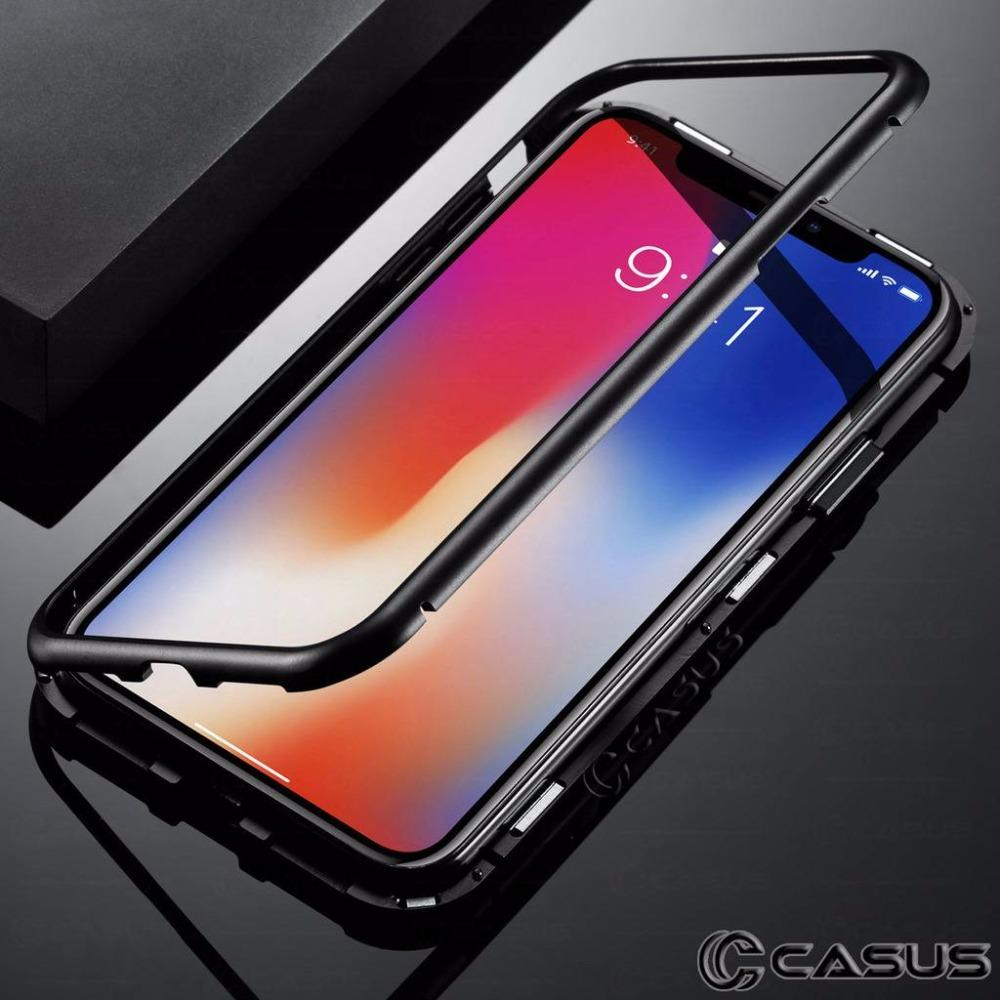 2600260e58 For IPhone XS Max XR Case Luxury Magnetic Metal Frame Tempered Glass ...
