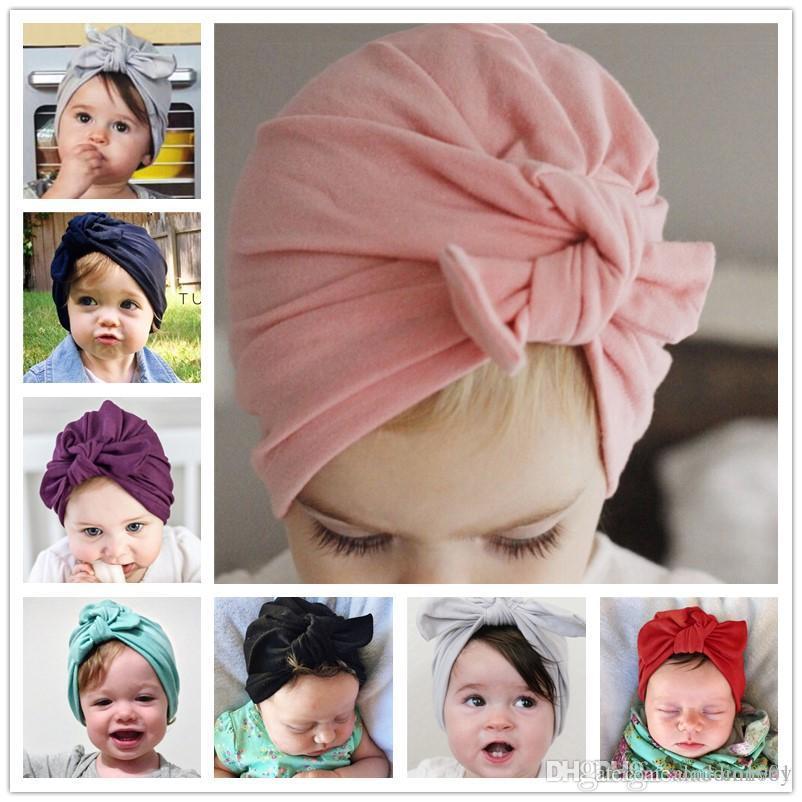 b63ec82fd2c Fashion Baby Hat Bunny Ear Caps Europe Style Turban Knot Head Wraps India  Bow Hats Kids Children Winter Spring Beanie BH24 Elastic Baby Crochet Bow  Hats ...